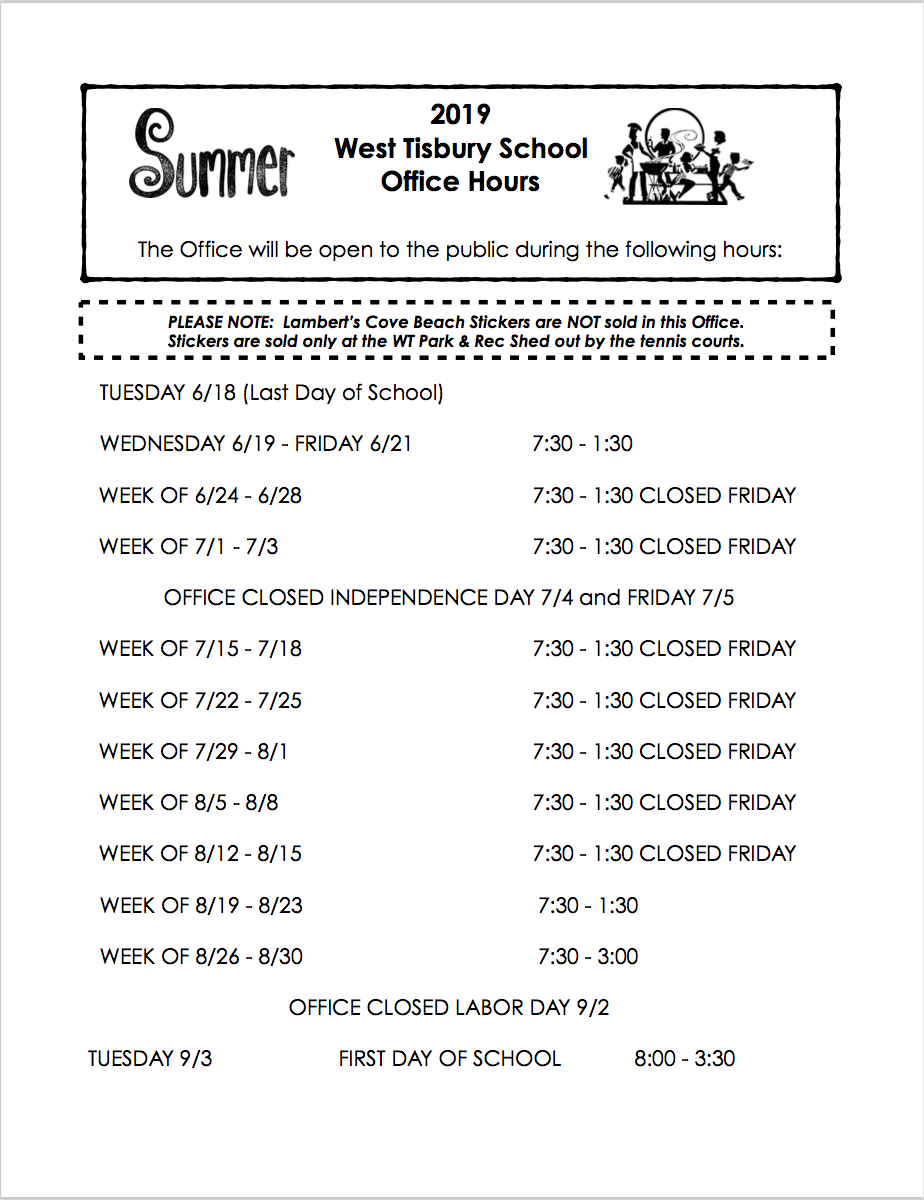 Office Summer Hours