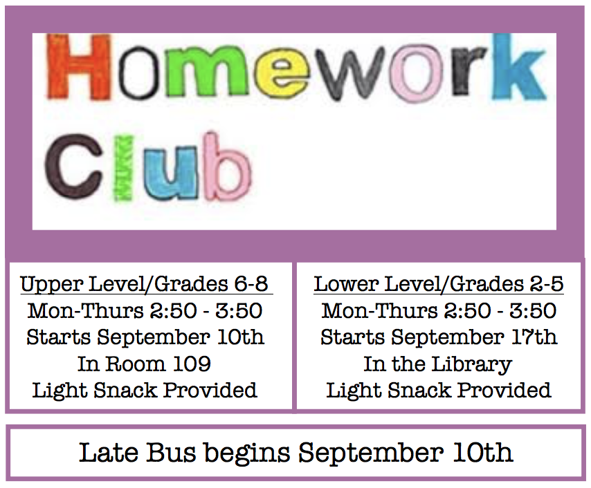 Homework Club Starting in September